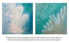 Abstract paintings by Abigail Davidson; Splash Abstract and Ocean Abstract; Medium: Acrylic and modeling paste; Size: Inches (each); Anchor Painting, Painting On Wood, Modeling Paste, Abstract Art, Abstract Paintings, Beach Themes, Painting Inspiration, Art Boards, Original Artwork