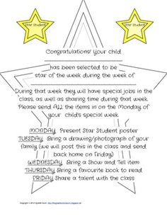 Star Student of the Week letter to the parents Classroom Community, School Classroom, Classroom Ideas, First Grade Activities, Kindergarten Activities, Beginning Of The School Year, First Day Of School, Hollywood Theme Classroom, Student Of The Month