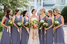 gray bridesmaids dresses | Floral by Bells & Whistles #destinationwedding #OBX #beachwedding