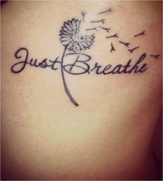 What does just breathe tattoo mean? We have just breathe tattoo ideas, designs, symbolism and we explain the meaning behind the tattoo. Kunst Tattoos, Neue Tattoos, Body Art Tattoos, Small Tattoos, Tatoos, Sleeve Tattoos, Aa Tattoos, Tattoo Sleeves, Leg Sleeves