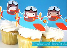 Aviator Airplane Pilot I Die Cut Cupcake Topper (One Dozen)