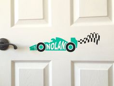 Custom Vinyl Decal Race Car Checkered Flag Kids Room Door