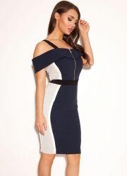 CelebBoutique Dress. Shop: http://www.celebboutique.com/mireya-navy-and-grey-off-the-shoulder-pencil-dress-en.html