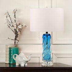 Blue Glass Lamp, Teal Lamp, Glass Lamps, Glass Desk, Glass Table, Glass Office, Chandelier Ceiling Lights, Coastal Chandelier, Hacks