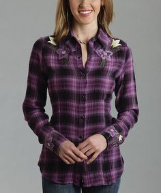 Look what I found on #zulily! Orchid Plaid Floral Embroidered Button-Up Top - Women & Plus #zulilyfinds