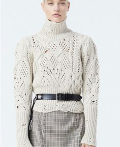 Asymmetric cables from Dondup.  Knit sweater inspiration