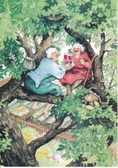 Omaatjes in de boom