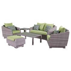 RST Brands Cannes 6-Piece Loveseat Deep Seating Set with Cushions, Ginkgo Green. Overall dimensions: loveseat: 57 in  w x 33 in  d x 31 in h club chairs: 31 in w x 33 in d x 31 in h ottoman: 31 in w x 20 in d x 16.5 In h. Coffee table: 46 in l x 26 in w x 16 in h side table: 20 in l x 20 in w x 19 in h seat height: 19 in weight capacity: 400 lbs. Powder-Coated aluminum frame. Holds up great in salt and chlorinated environments. Warranty details: one year.