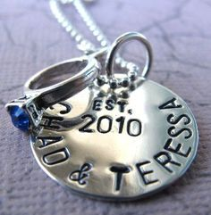 Personalized Hand Stamped Engagement Necklace for the Bride to be - Sterling Silver and Wedding Ring Charm