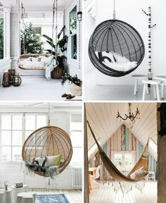 HAMACAS COLGANTES Y COLUMPIOS, TENDENCIA DECORACIÓN. #atrendylife #hamacascolgantes #columpios #deco #decoración #tendenciadeco #ideasdeco Hanging Chair, Inspiration, Furniture, Home Decor, Swing Chairs, Swings, House Decorations, Trends, Interiors
