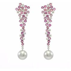 Ri Noor - Tourmaline & Diamond Earrings With Tahitian Pearls ($2,955) ❤ liked on Polyvore featuring jewelry, earrings, earring jewelry, 14k bangle bracelet, 14k diamond earrings, diamond bangles and 14 karat gold diamond earrings #gold14kbracelet