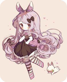 [ C ] Heart Bunny by LittleBlueMuffin on DeviantArt Manga Kawaii, Kawaii Chibi, Kawaii Art, Kawaii Anime Girl, Anime Art Girl, Dibujos Anime Chibi, Cute Anime Chibi, Character Art, Character Design
