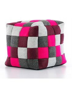TULA  multi-purpose pouf in felt  Multicoloured patchwork colours and grey/purple. Removable lining. In styrofoam balls.  Measures 40x40x40 cm h.