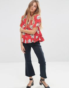 Image 4 ofASOS T-Shirt in Floral Print with Ruffle Hem