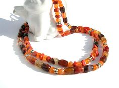 stunning #Carnelian and Agate Necklace #handmade by KatieBugCreations4U on #Etsy @K. Rawson