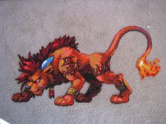 Red XIII from Final Fantasy VII. This was made from Perler and Hama beads.The quarter by the tail is a size reference. Hama Beads, Fuse Beads, Beaded Cross Stitch, Cross Stitch Patterns, Pixel Art, Samus, Stitch Games, 8bit Art, Peler Beads