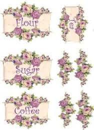 Image result for pastel kitchen canister labels decoupage pinterest