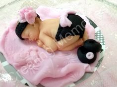Baby Cake Topper Black and Pink Outfit by anafeke on Etsy, $16.00