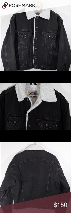 Vintage 80s 90s Levis strauss denim Sherpa jacket True Vintage Original, Made in the USA  Excellent vintage condition, normal wear, no rips stains holes etc. Inside Sherpa lining is flawless Levi's Jackets & Coats Bomber & Varsity