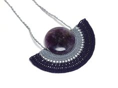 Crochet Lace Pendant Necklace in Purple Grey with by PinaraDesign, $46.00
