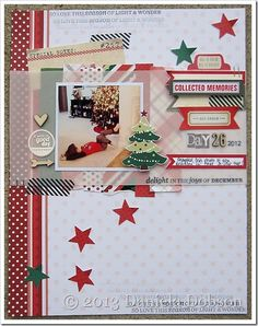 Goodness! What an amazing scrapbook page from Daniela Dobson! She has such a knack for mixing and matching different scrapbooking and paper crafting supplies together. All the stamps she used on this page are from TechniqueTuesday.com.