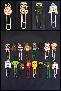 Star Wars and other comic inspired plastic paperclips, bookmarks. Cheap and cute idea. #starwars #paperclip #bookmark #giftideas #cute #commissionlink