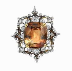 Jewelry Diamond : Victorian silver, gold, topaz and diamond brooch centering one cushion-shaped to. - Buy Me Diamond Antique Rings, Antique Jewelry, Antique Silver, Vintage Jewelry, Antique Brooches, Diamond Brooch, Diamond Pendant, Emerald Pendant, Diamond Rings