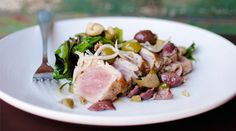 Grilled Tuna with Olive Salad | Recipes - PureWow