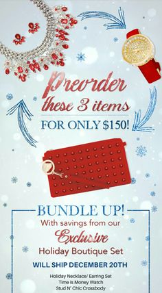 Bundle up! With savings from our Exclusive Holiday Boutique set limited quantity available so don't miss out Shop: www.tracilynnjewelry.net/party/BlingaGift