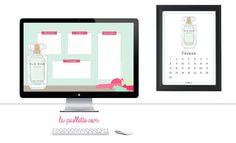 Calendrier calendar Février february free printable fond d'écran organisé desktop wallpaper organizer Elie Saab parfum illustration mint pink fuchsia minimalist 2016 fragrance