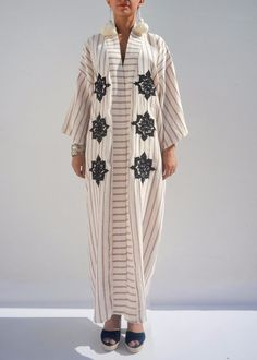 Moroccan Caftan Linen Maxi Dress Boho Chic Kaftan African Embroidered Top Kimono #Handmade