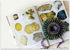 naturally dyed silk with indigo and eucalyptus, and brazilwood - green and blue, and purple, geodes, rocks and minerals