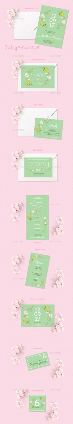 Buy Summer Wedding Invitation Set by land-art on GraphicRiver. Files included: - Info card: inch - Invitation: inch - Menu: i. Wedding Invitation Packages, Summer Wedding Invitations, Rustic Invitations, Wedding Party Favors, Wedding Card Design, Wedding Cards, Wedding Budget List, Wedding Guest Looks, Wedding Place Settings