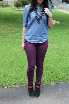 Chambray Shirt, Dolce Vita Suede Booties, and Maroon Skinny Jeans