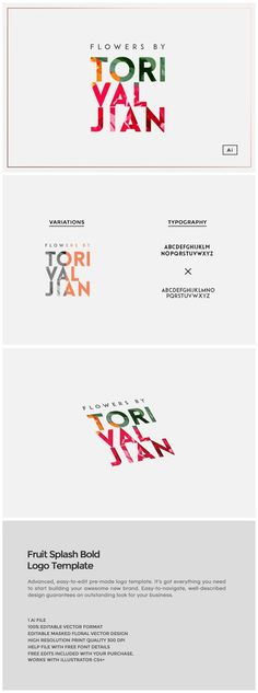 Fruit Splash Bold Logo Template  This easy-to-use logo template will add a unique character your brand name. The download includes the design in .AI vector format. Color and text ch... https://creativemarket.com/MeeraG/502200-Fruit-Splash-Bold-Logo-Template