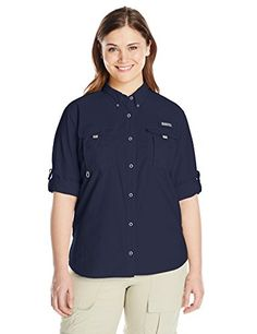 Columbia Sportswear Womens Plus Bahama Long Sleeve Shirt Collegiate Navy 2X >>> You can get more details by clicking on the image.