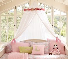 Fabric Flower Canopy #PotteryBarnKids  Pretty for girls room - DIY version?