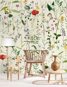 A stunning Mind the Gap matt digital image wallpaper mural with an all over pattern of single flower stems: pressed hedgerow flowers including poppy. Wallpaper Direct, Wallpaper Panels, Flower Wallpaper, Wall Wallpaper, Pattern Wallpaper, Large Print Wallpaper, Wallpaper Samples, Vintage Wallpaper Patterns, Accent Wallpaper