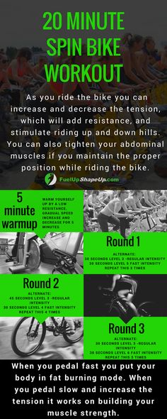 Get an amazing workout and burn calories with a spin bike workout for beginners! Check out this 20 minute workout, plus the benefits of a spin bike workout in order to get started and get toned here: http://fuelupshapeup.com/spin-bike-workout-for-beginners/