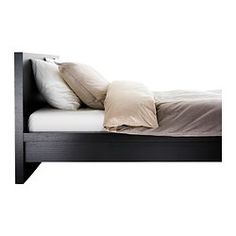 Rustic style bed frames and black bed frames on pinterest for Low beds ikea