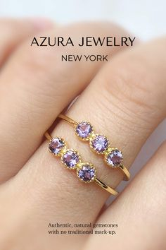 Azura Jewelry provides a collection of beautiful authentic Amethyst Rings. These gorgeous pieces fit your captivating fashion; it can be a statement ring or engagement ring! Our bands are made with 14k Gold Vermeil but are customizable in 10k Solid Gold and 14k Solid Gold. Our team does our best to give our customers premium quality gemstones and provide accessible pricing. Find your gem today! Amethyst Jewelry, Amethyst Gemstone, Gemstone Jewelry, Amethyst Rings, Trinity Ring, Pink Tourmaline Ring, Everyday Rings, Three Stone Rings, Beautiful Rings