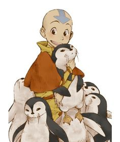 Avatar: The Last Airbender (The Legend of Korra) Aang, otter penguins, cute; Avatar: the Last Airbender Avatar Airbender, Aang The Last Airbender, Cartoon Cartoon, Cartoon Kunst, Otter Cartoon, Korra Avatar, Team Avatar, Avatar Aang Movie, Appa Avatar