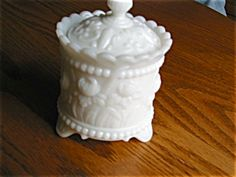 Vintage milk glass jar for sale at More Than McCoy on TIAS at http//www.morethanmccoy.com