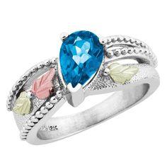 Sterling on Black Hills Gold Swiss Blue Topaz Ring