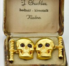 900 Antique Victorian Doctor's Memento Mori Skull 18k gold plated silver cufflinks