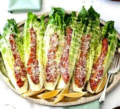 CEASAR WEDGE SALAD With Bacon & Parmesan ~ A fun twist on the standard Caesar salad, this wedge version takes just minutes to assemble and present.