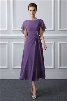 A-Line/Princess Jewel Neck Tea-length Mother of the Bride Dress With Ruching Crystal brooch