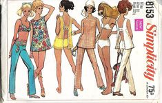 1960's Simplicity 8153 Misses Open Back Top, Hip Hugger Pants And Bathing Suit Sewing Pattern, Size 10, Bust 32 1/2, UNCUT by DawnsDesignBoutique on Etsy