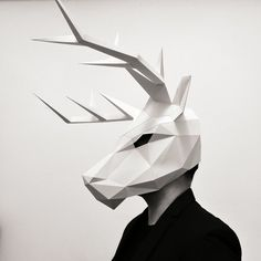 Pushing the limits of paper and integrating with complex geometric designs, these Animal Masks are polygon sculptures that express your creativity. Origami, Cool Masks, Awesome Masks, Low Poly Mask, Cardboard Mask, Head Mask, Paper Mask, Animal Masks, Paper Models