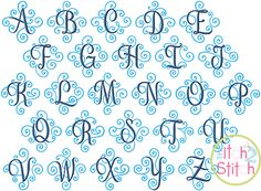 """I2S Elegant Scroll Two Color Monogram in font sizes 2"""", 3"""", 4"""" and 5"""""""